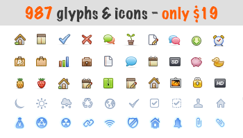 Download 987 Glyphs and Vector Icons - only $19!