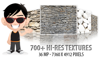 700+ Hi Res Textures at 36 MP with Commercial License
