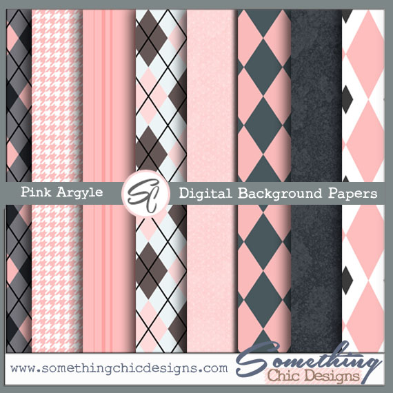 Pink Argyle Digital Backgrounds by Something Chic Designs