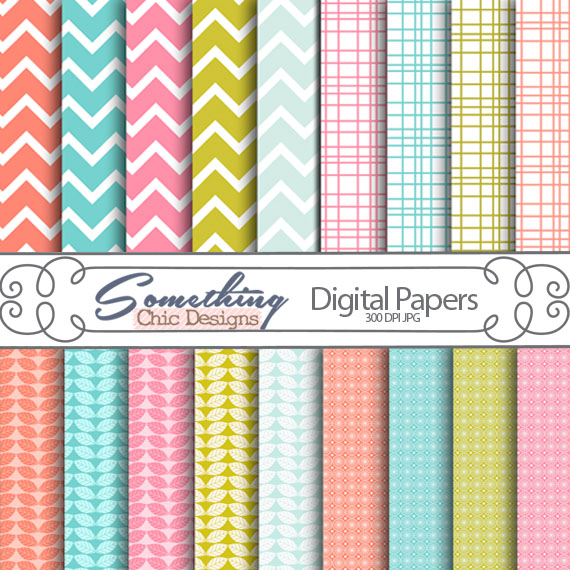 Summer Chevron Digital Backgrounds by Something Chic Designs