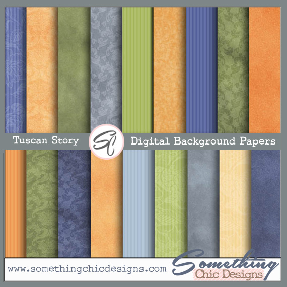 Tuscan Story Digital Backgrounds by Something Chic Designs