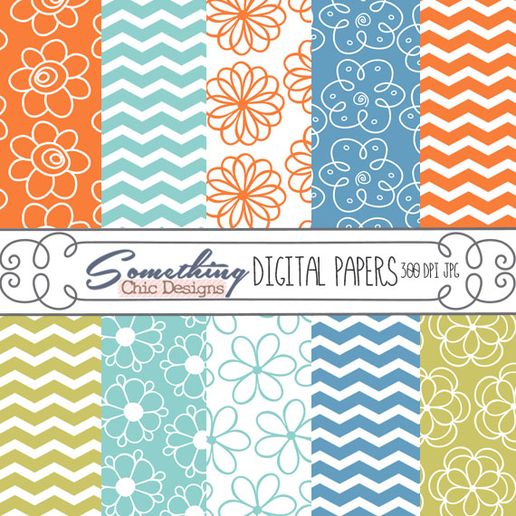 Flower Chevrons Digital Backgrounds by Something Chic Designs