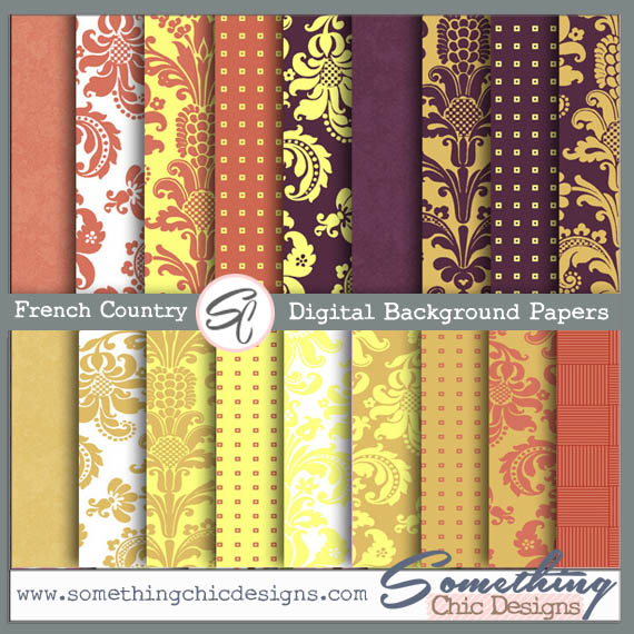 French Country Damask Digital Backgrounds by Something Chic Designs