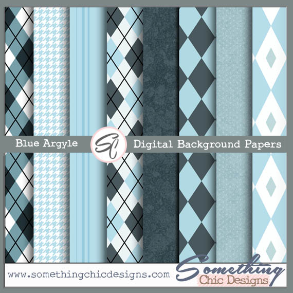Blue Argyle Digital Backgrounds by Something Chic Designs