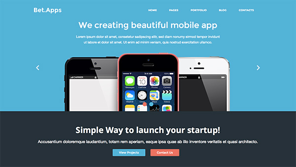 mobile app bootstrap theme