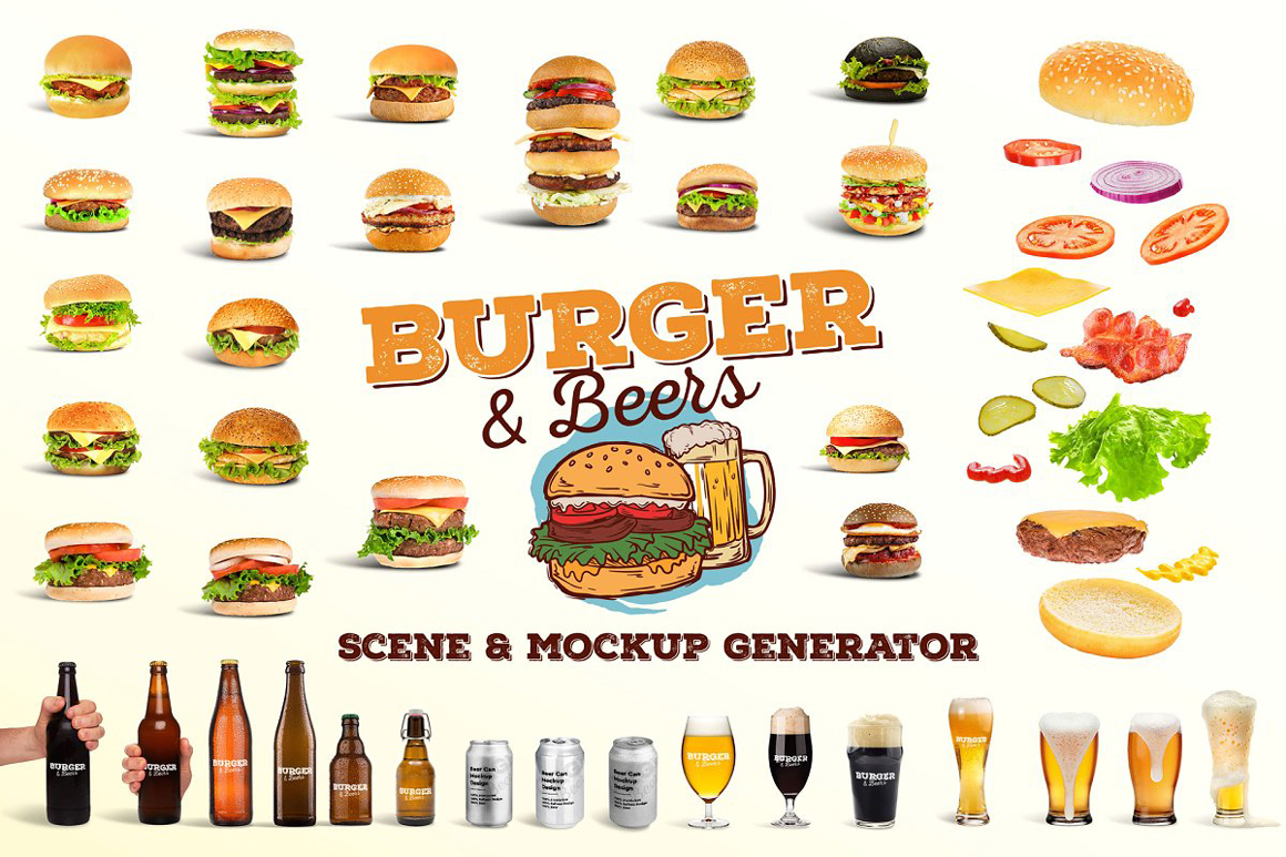 Burger and Beer Scene and Mockup Creator