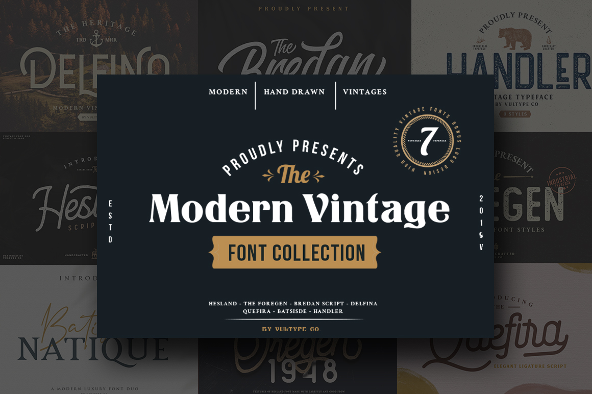The Modern Vintage Font Collection