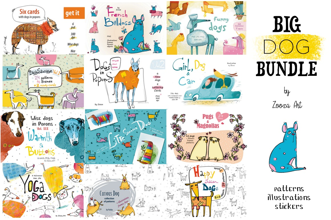 Amazing Big Dog Bundle - Patterns, Illustrations, Stickers with Extended License