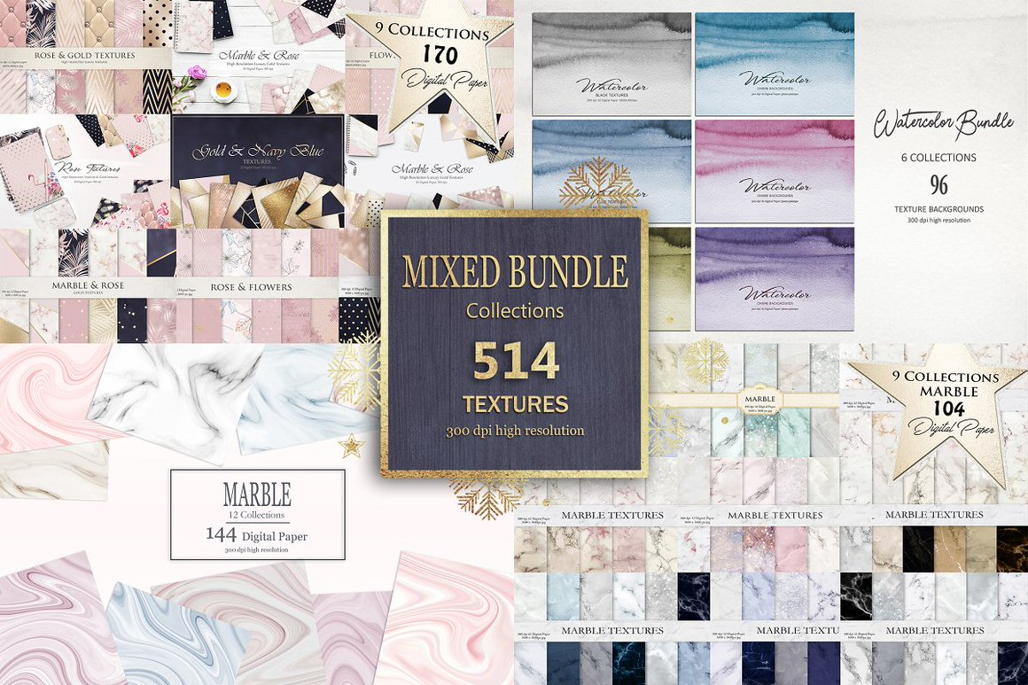 Get 500+ Textures: Marble + Rose Gold + Watercolor + Abstract