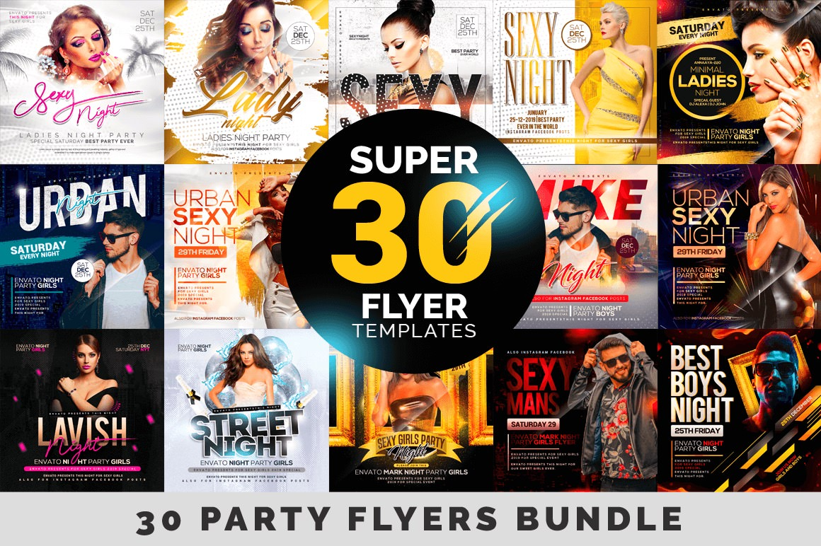 Super 30 Party Flyer Templates