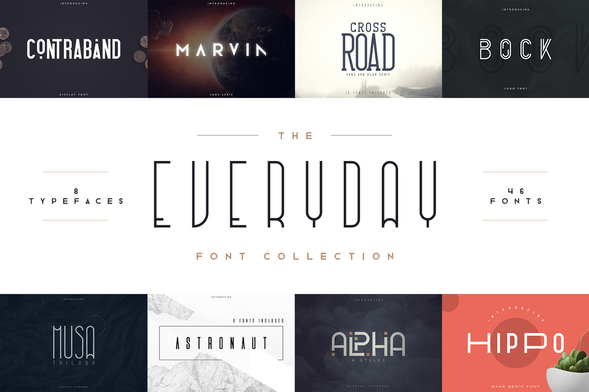 Everyday Font Collection - 46 Fonts with Extended License