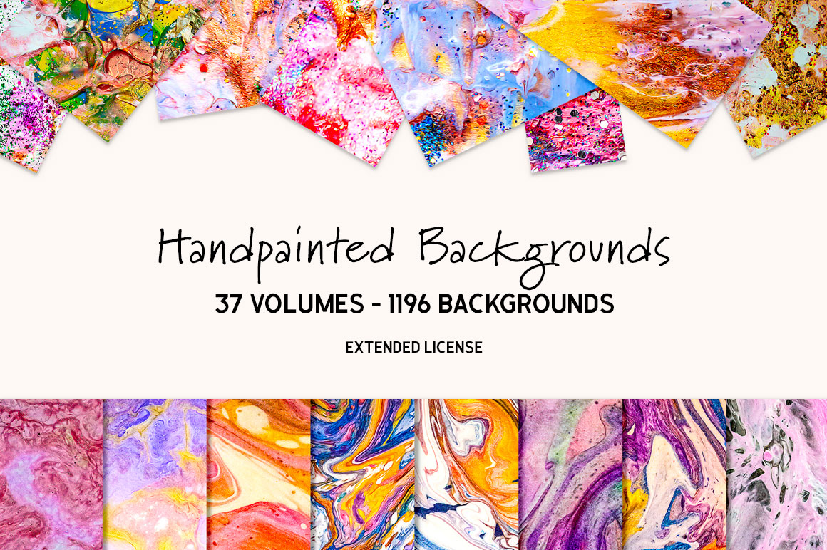 1900+ Unique Hand Painted Backgrounds with Extended License for Only $19