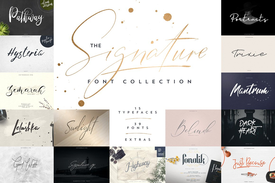 Signature Font Collection | 15 in 1