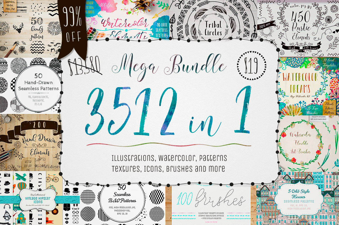 3500+ Textures, Brushes, Icons, Watercolors & More Graphic Elements - only $19!