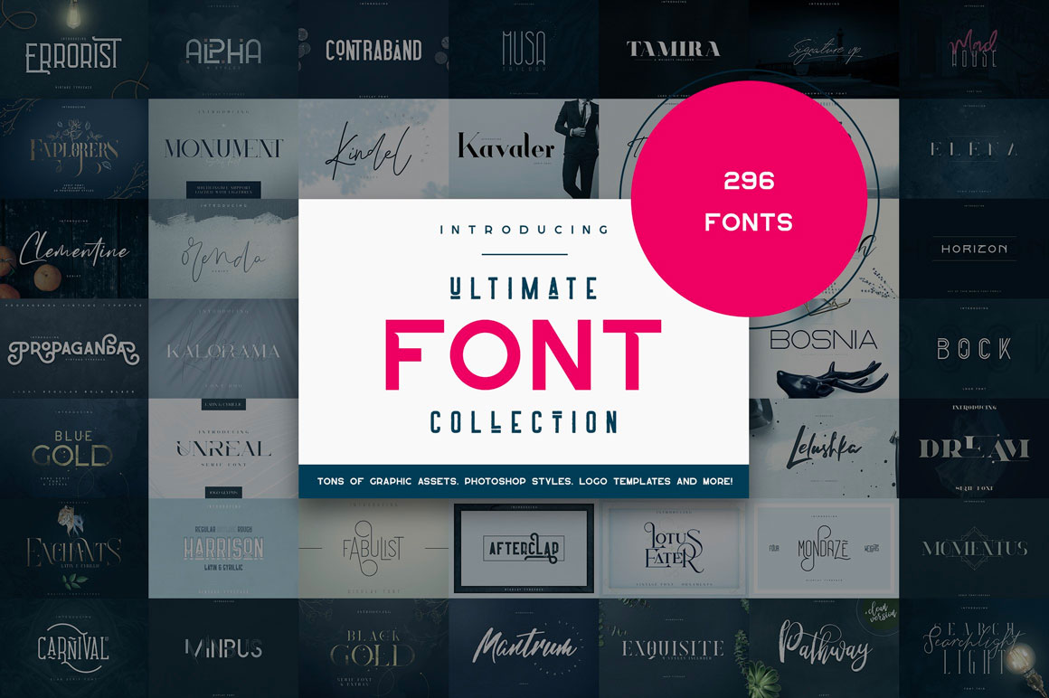 Ultimate Font Collection - Get 296 Amazing Fonts