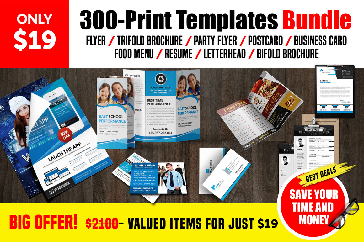 300 Multipurpose Print Templates Bundle for only $19