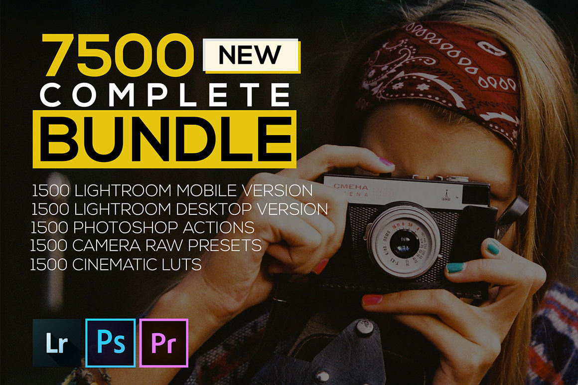 7500 New Complete Bundle Presets Lightroom, Photoshop Actions and Cinematic LUTs
