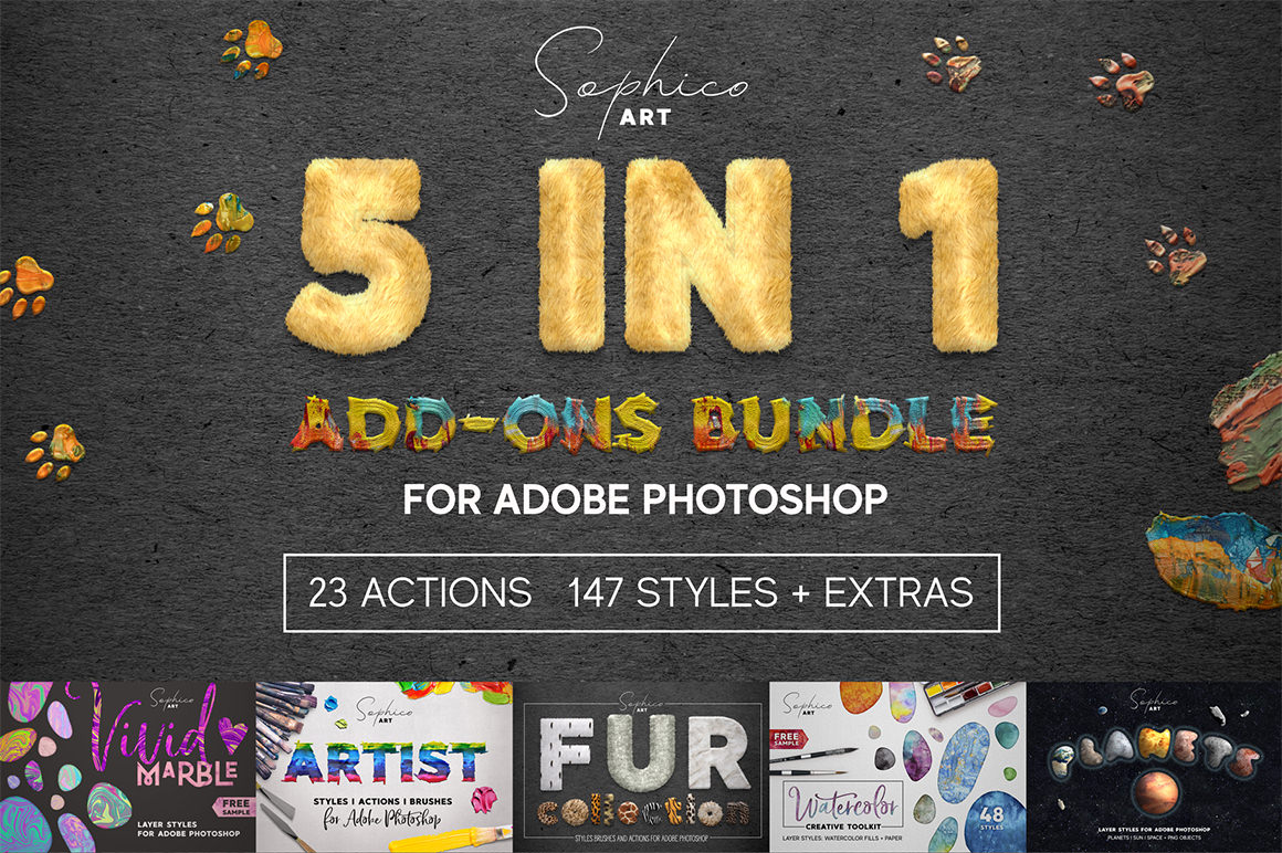 5 IN 1 ADD-ONS Bundle For Adobe Photoshop
