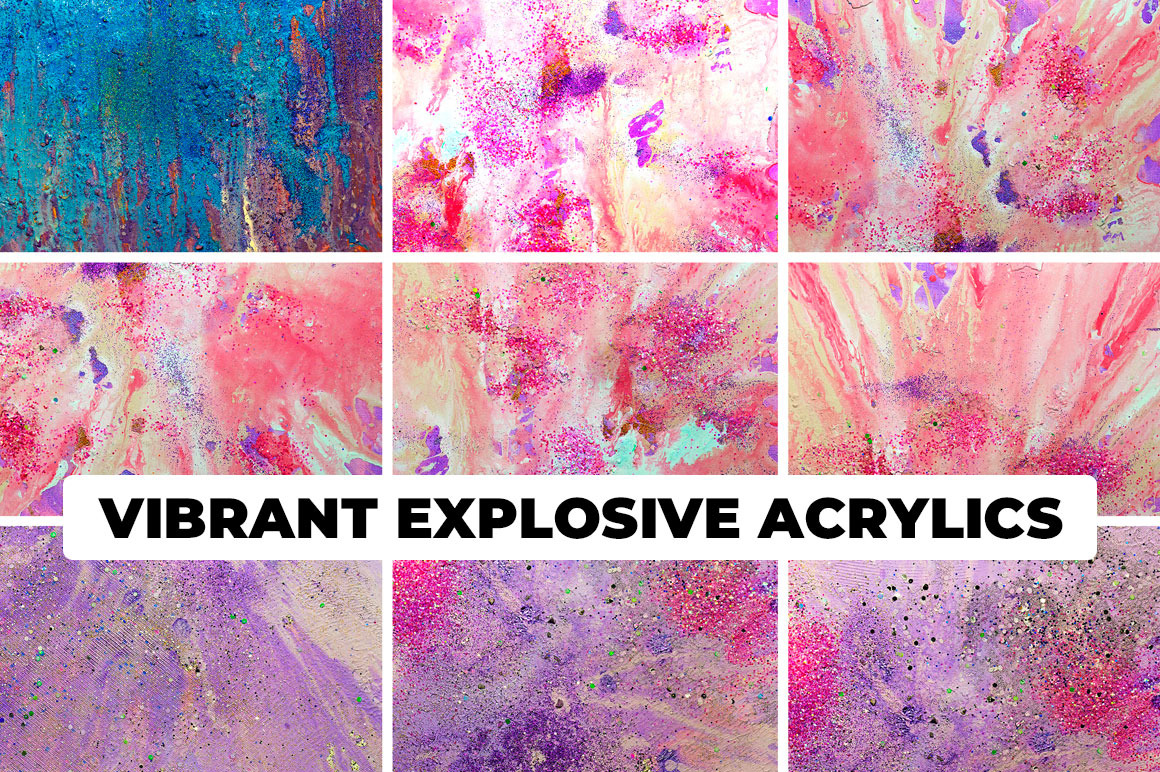 Vibrant Explosive Acrylics - 240 Handmade Acrylic Backgrounds
