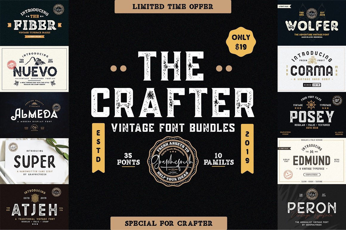 The CRAFTER Vintage Font Bundle