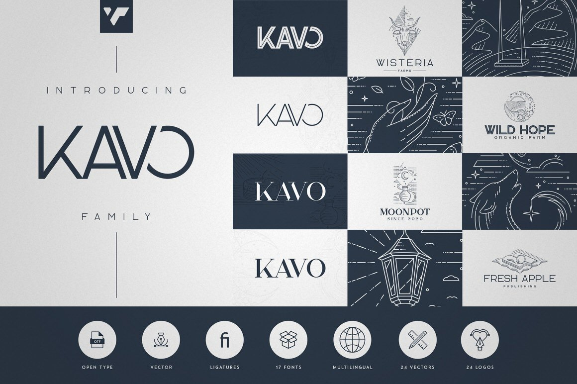 Kavo Family - 17 fonts + 24 logos
