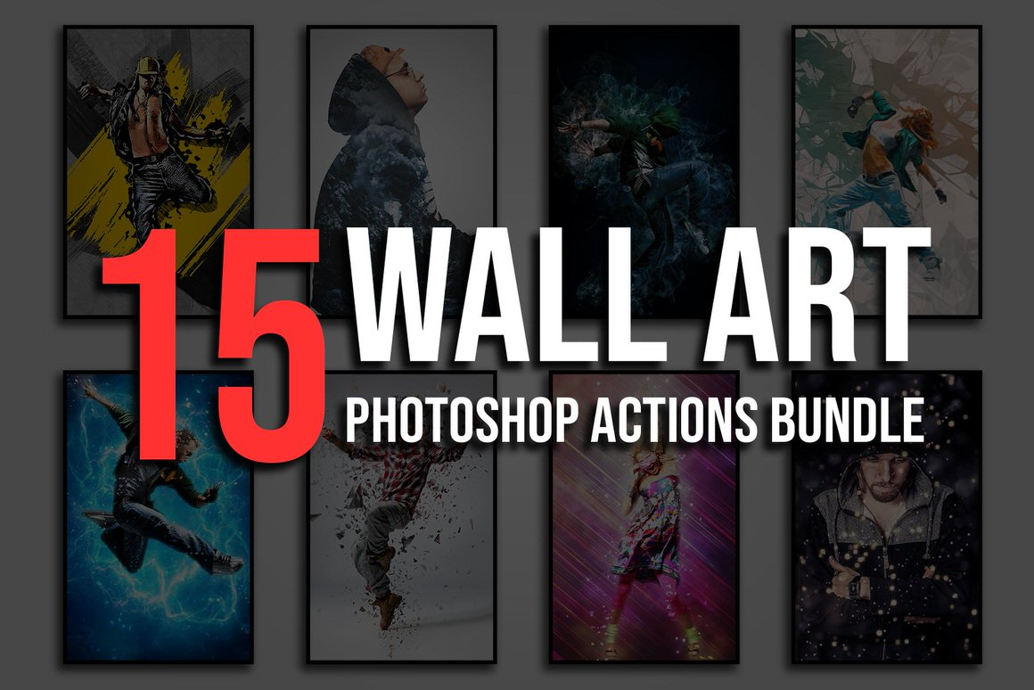 15 Wall Art Photoshop Actions Bundle