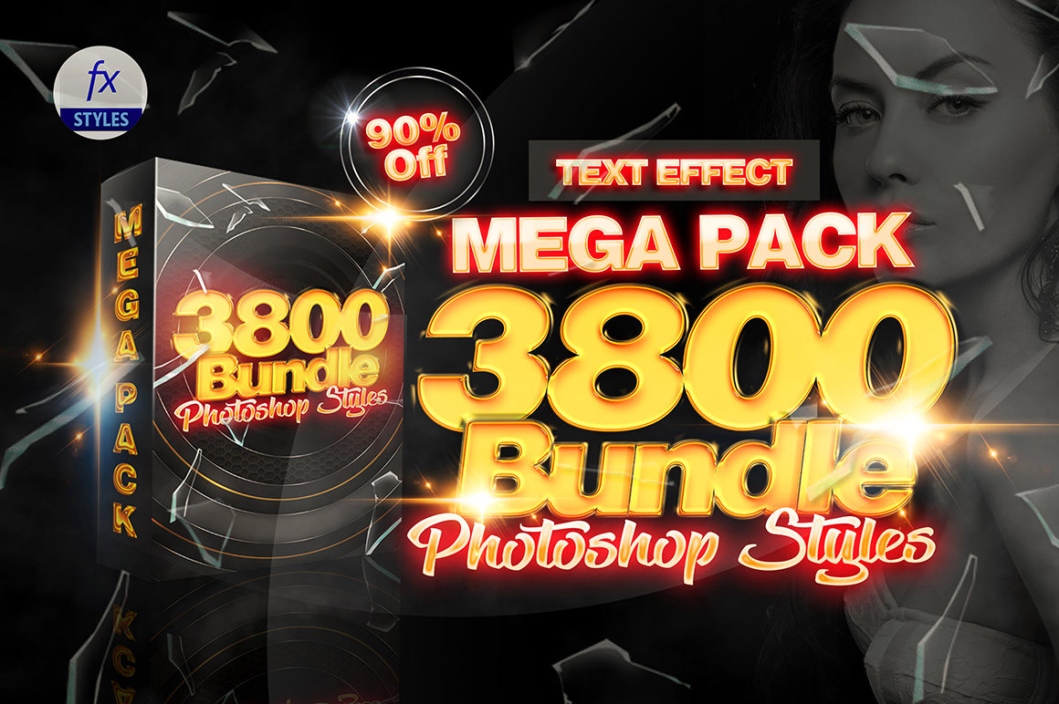 3800 Mix Mega Pack Photoshop Styles for Amazing Text Effects