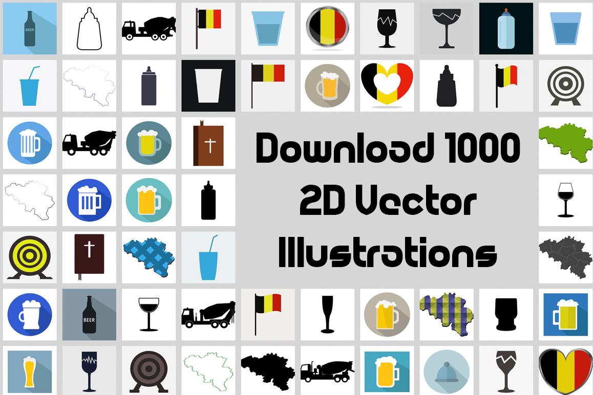 2D Illustration Bundle with 1000 Vectors