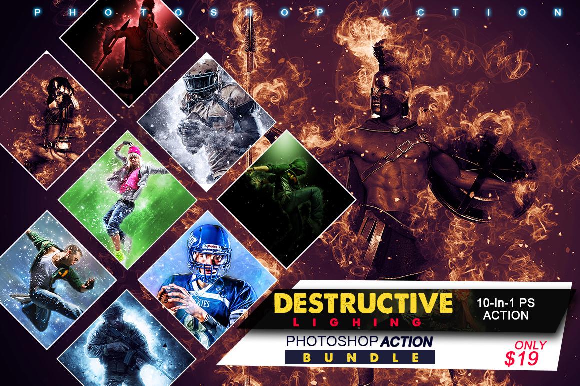 10-In-1 Destructive Lighting Photoshop Action Bundle