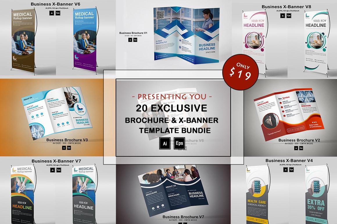 20 Exclusive Brochure & X-Banner Template Bundle