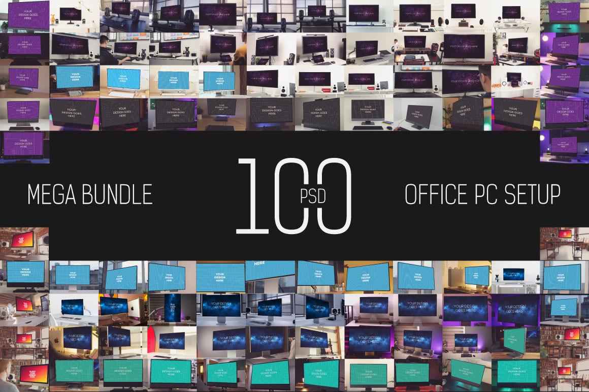 100 PSD Office PC Setup Mockup