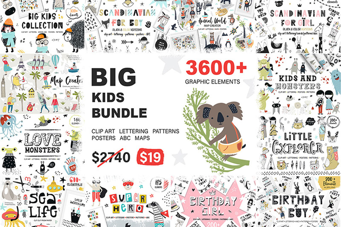 Get BIG KIDS BUNDLE for only $19 instead of $2740 with Extended License
