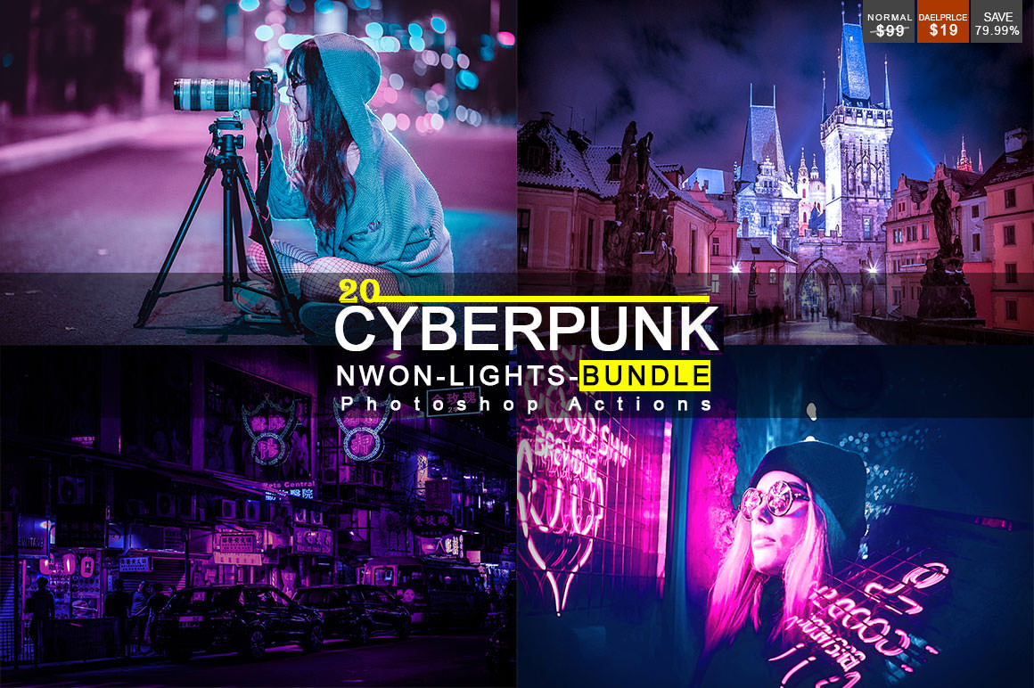 20 Cyberpunk - Neon Lights - Photoshop Actions Bundle