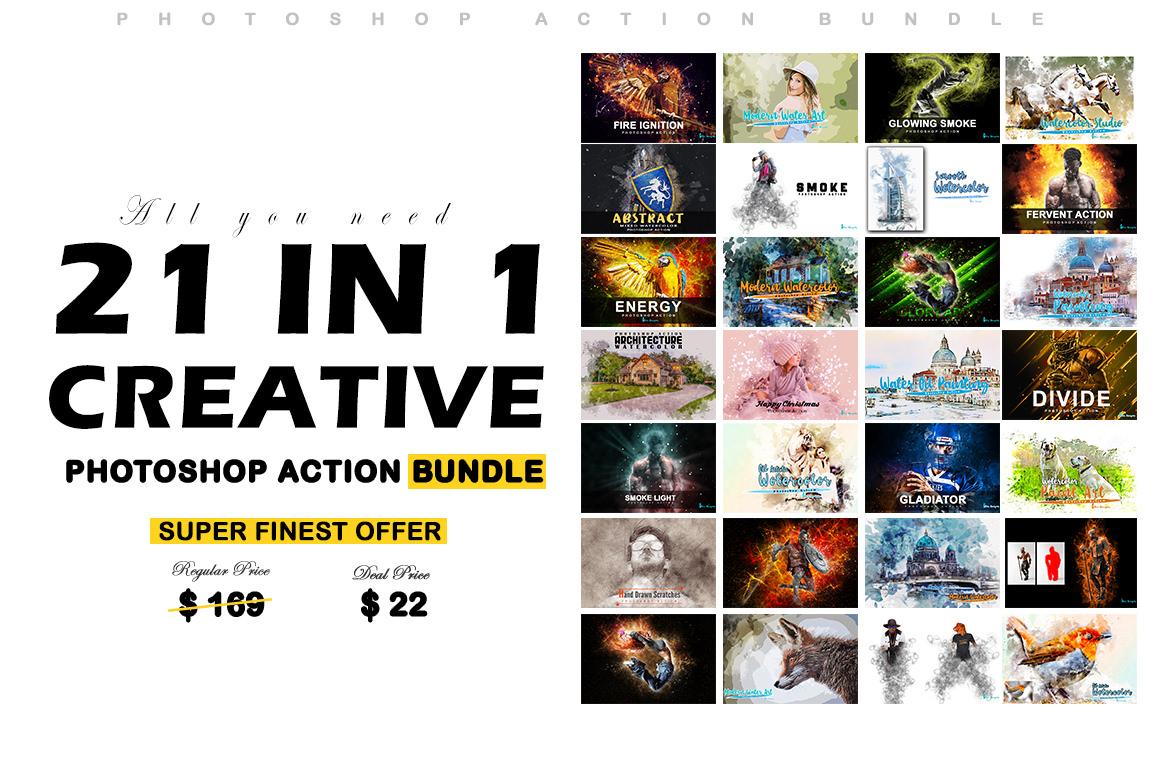 21 in 1 Creative Photoshop Actions Bundle