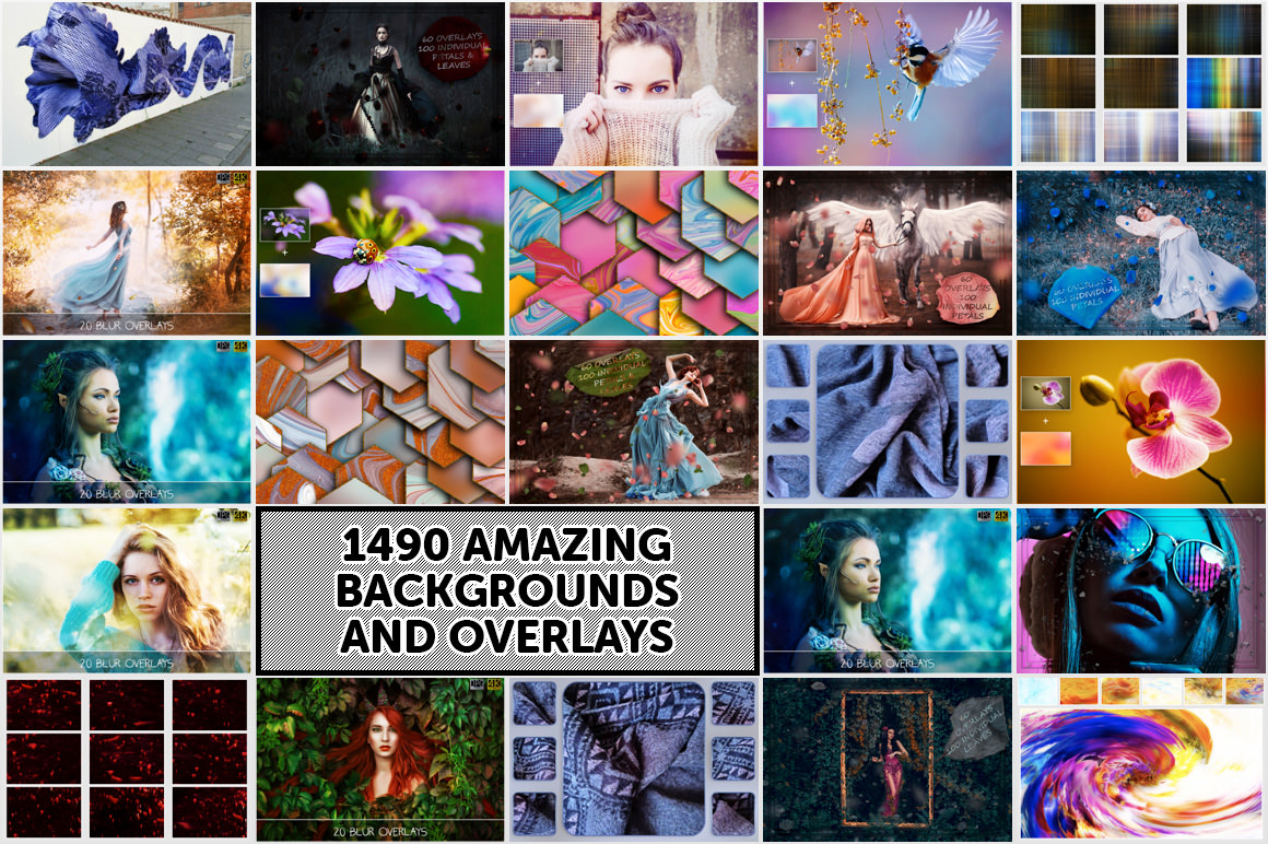 Download 1490 Overlay and Backgrounds in 4K with Extended License