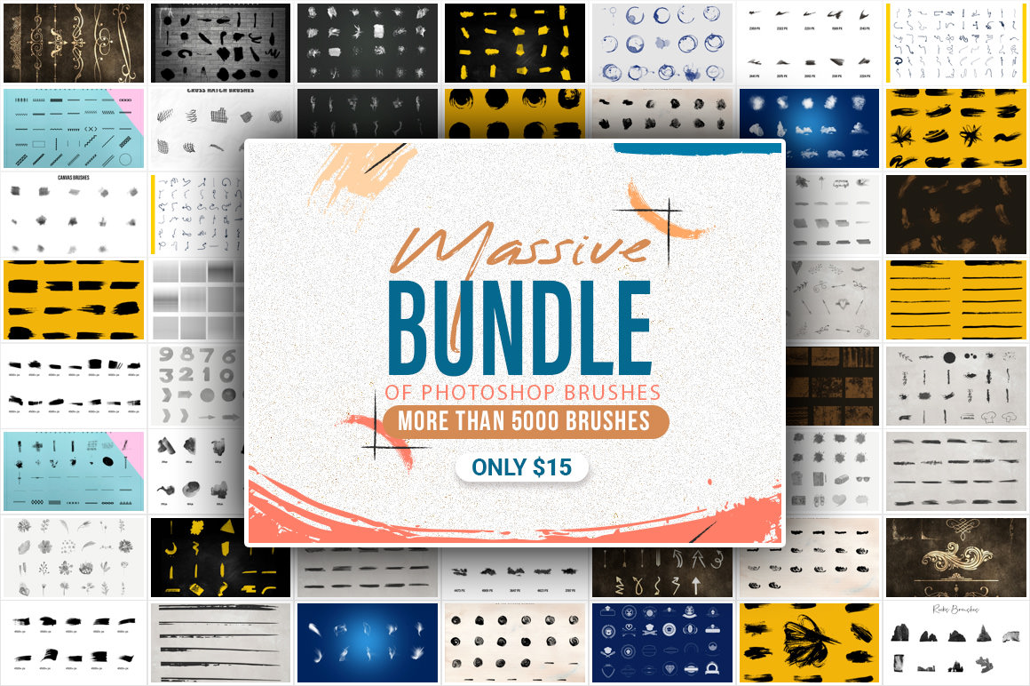 Huge Bundle of Photoshop Brushes - Download more than 5000 brushes for only $15