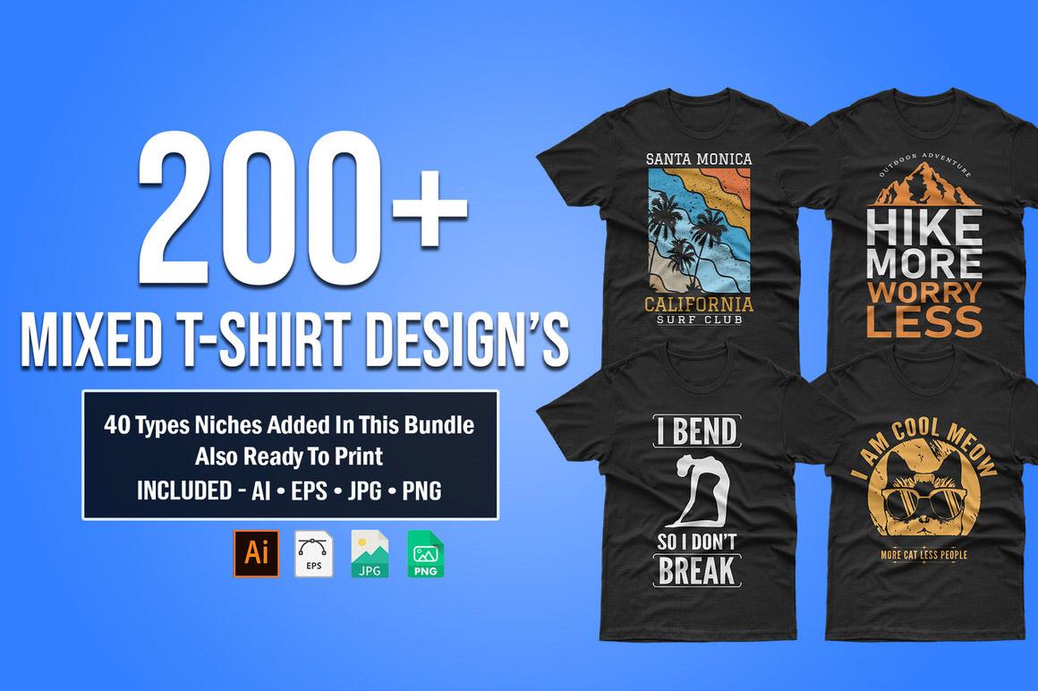 Download 200+ Mixed Editable T-shirt Designs