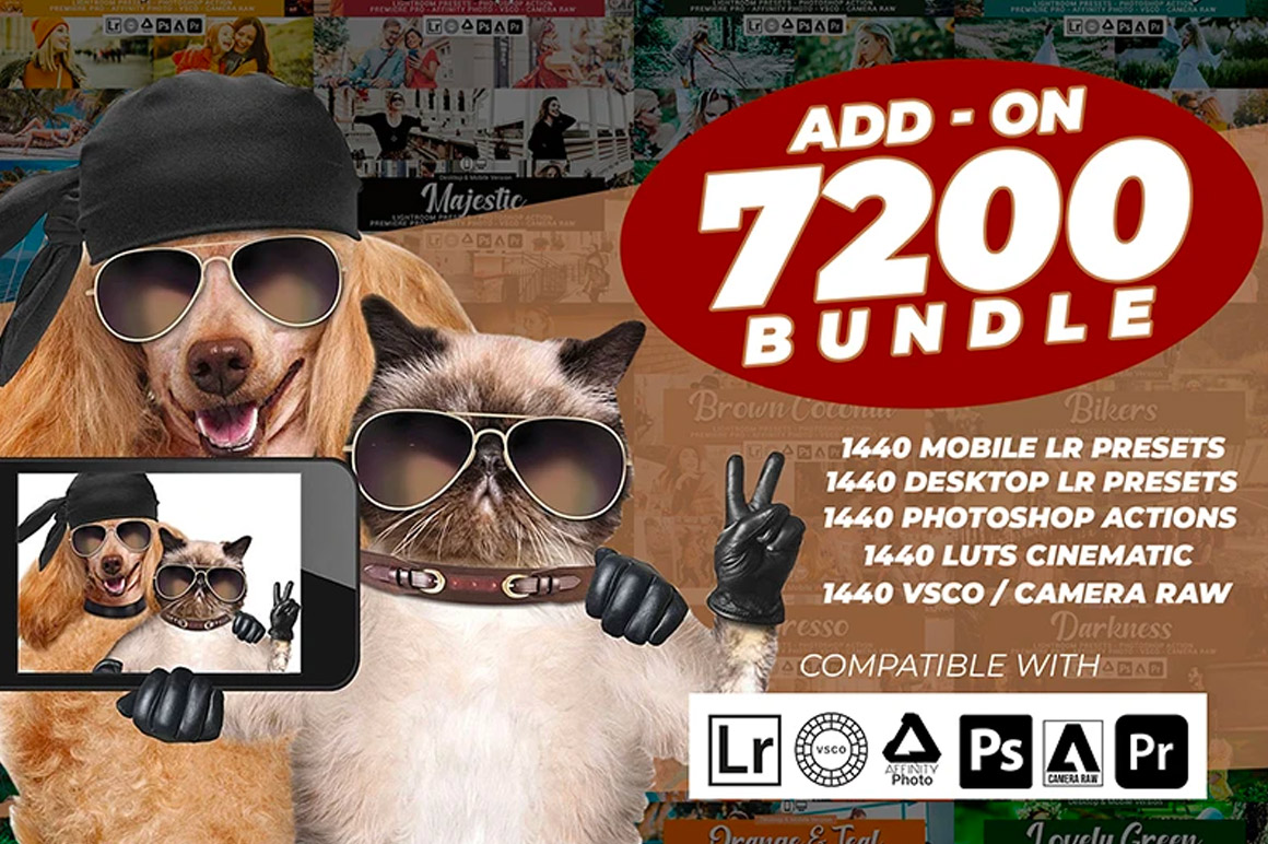 The Pro Photographers Presets Lightroom, Actions, LUTs and VSCO Bundle - 7200 Resources