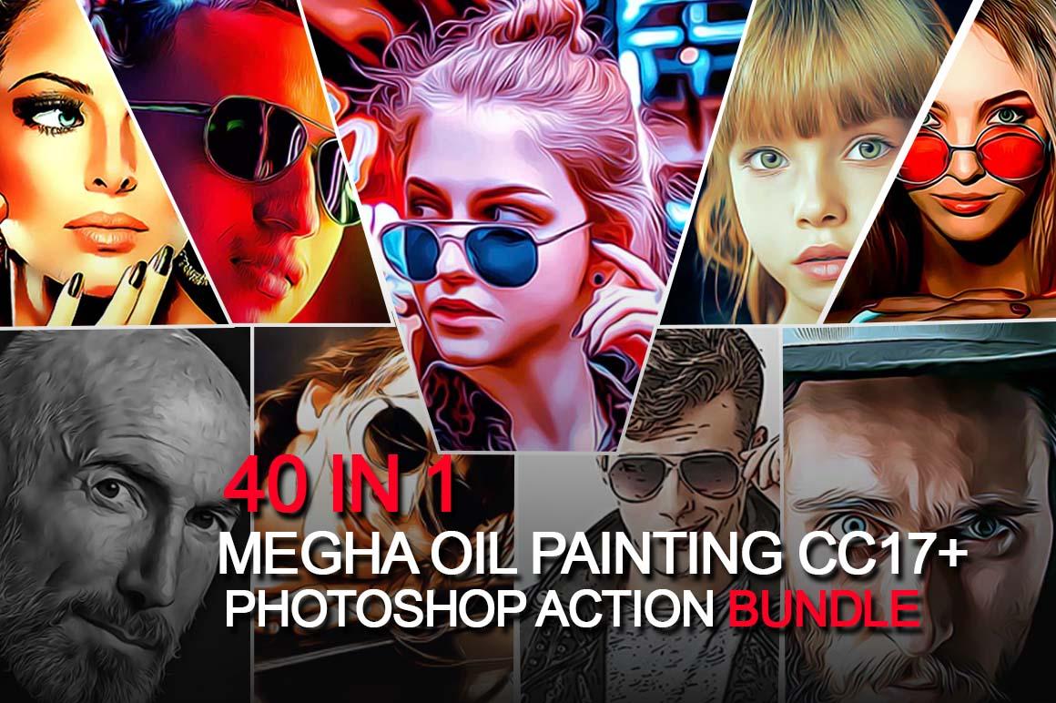 Mega Oil Painting Photoshop Action Bundle