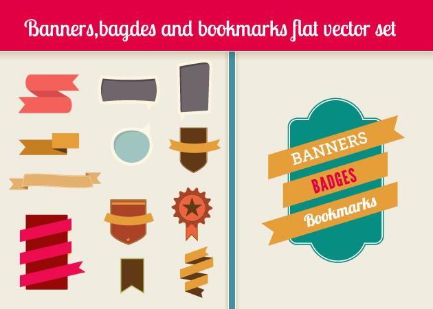bookmarks-badges-flat-vector-elements