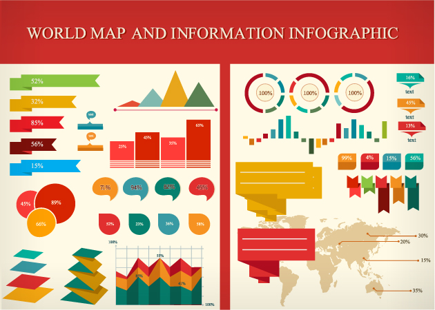 The premium design bundle 2644 worth of resources for only 59 world map and information infographic set worth 15 infographics gumiabroncs Gallery