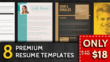 8 Premium Resume Templates for $18