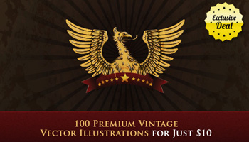 100 Vintage Vector Illustrations with an Extended License – Just $10