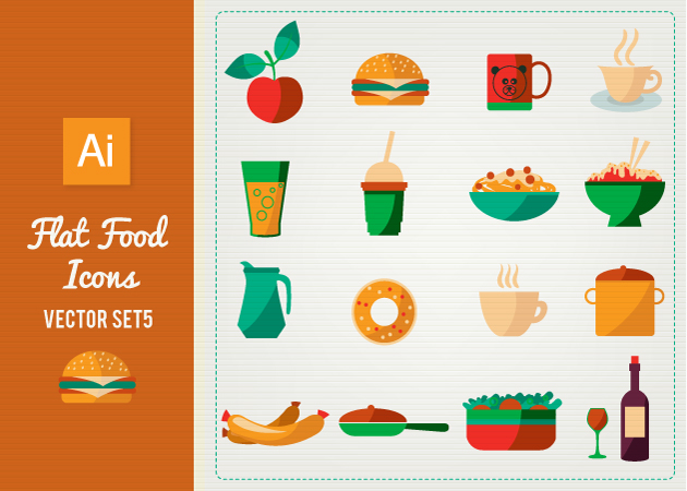 Vector-Flat-Food-Icons