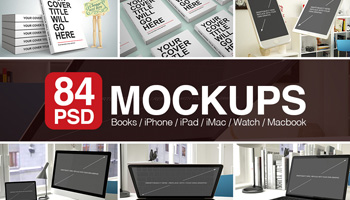 84 PSD Mockups with Books and Apple Devices