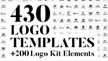 430 Vector Logo Design Templates + 200 Logo Kit Elements