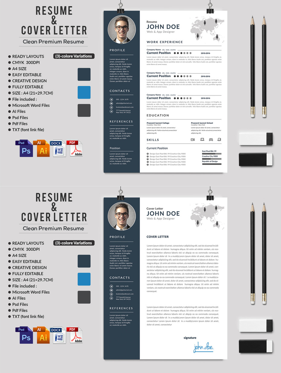 creative ms word resume cv    letterhead and invoices with extended license