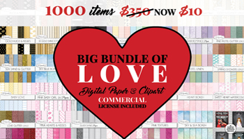 The big bundle of love - 1000 Digital paper and clipart items only $10