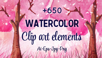 650+ Vector Watercolor Clip-Art Elements
