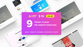 9 trendy & clean PSD website templates for only $15